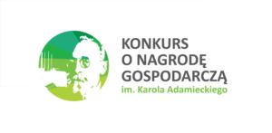 Nazwa konkursu i portret patrona w biało-zielonej kolorystyce.