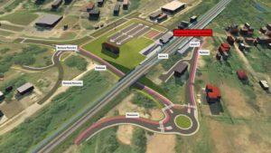 WIzualizacja przebudowanego układu drogowego w rejonie stacji kolejowej w Gołonogu.