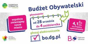 Plakt zachęcający do głosowania w budżecie obywatelskim, z głównymi informacjami na temat wybierania projektów.