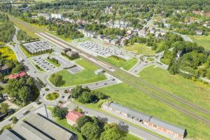 Wizualizacja prezentująca zmianę układu drogowego w rejonie dworca w centrum.