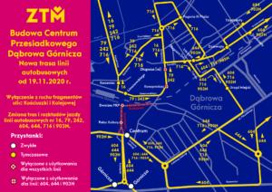 Schemat linii autobusowych, kursujących po zmienionych trasach.