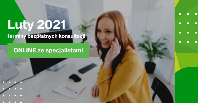 Konieta przy biurku z telefonem w ręku, informacja o konsultacjach biznesowych w lutym 2021.